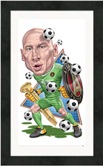 "Framed Poster: Atlanta United Brad Guzan Cartoon (12"" x 20"")"