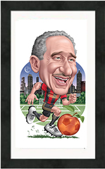 "Framed Poster: Atlanta United Arthur Blank Cartoon (12"" x 20"")"